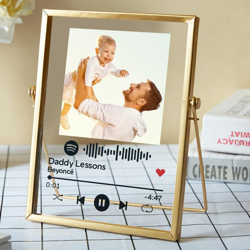 Gift for Dad Personalised Spotify Code Music Plaque Acrylic Glass Art Plaque with Golden Frame