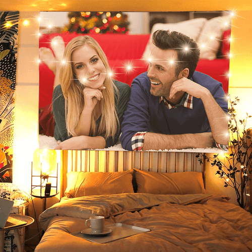 Custom Couple Photo Tapestry Wall Art Hanging Decoration  for Family