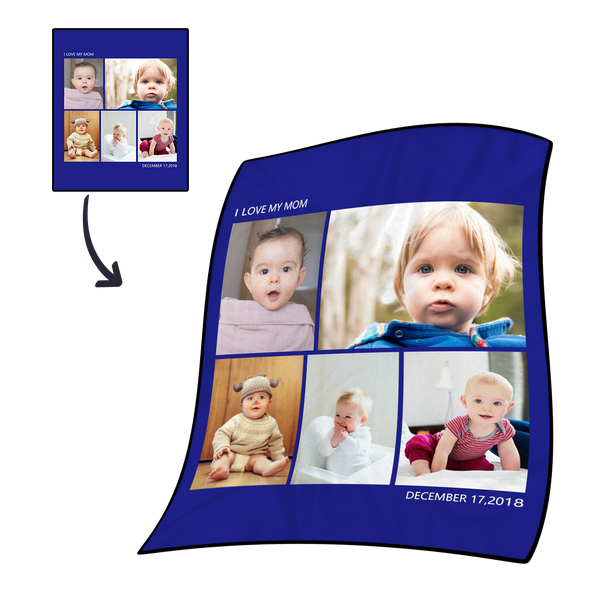 Mother's Gifts Personalized  Fleece Photo Blanket with 5 Photos