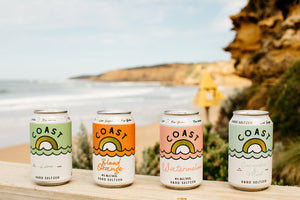 Coast Hard Seltzer locally crafted in Torquay Geelong. Alcoholic soda water with a hint of natural flavour. Vegan, low carbs, low sugar, gluten free