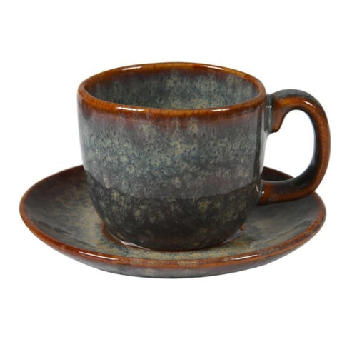 Set of 4 Dakaya Ceramic Espresso Cup and Saucer