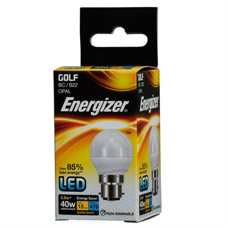 Energizer LED Golf Ball 5.9w LED Warm White BC