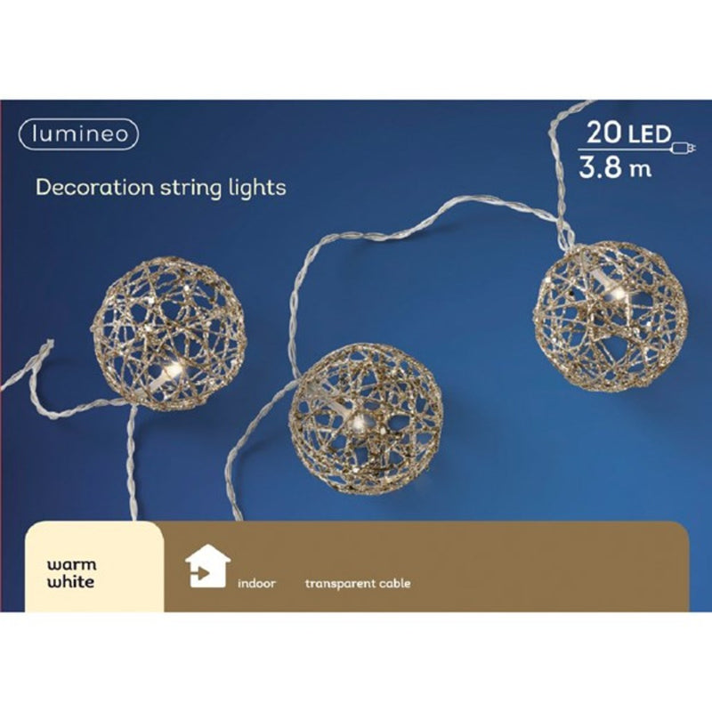 LED wire ball string, warm white -20 lights