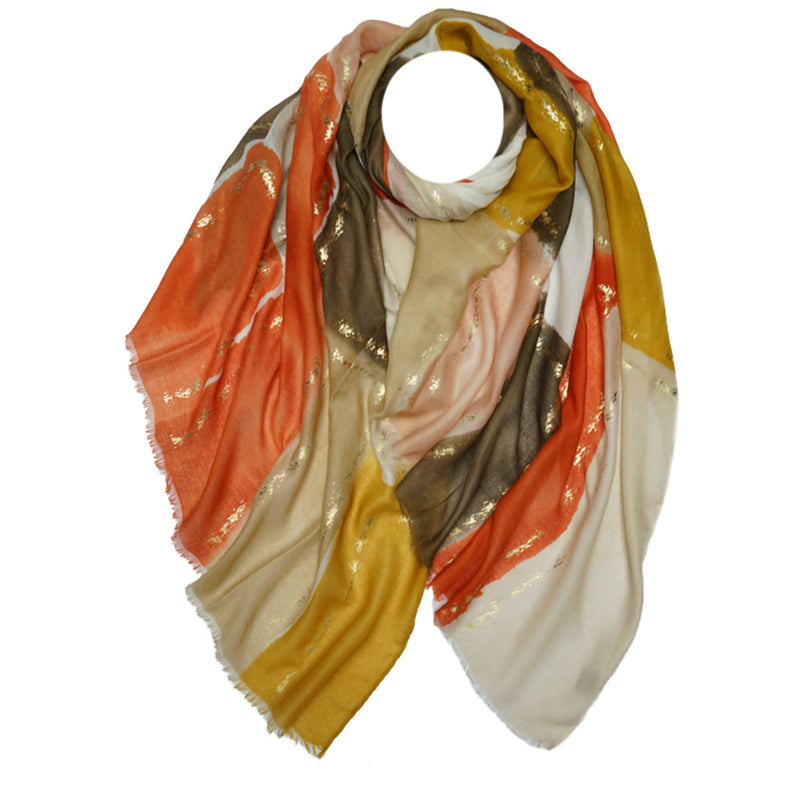 Silver Print Scarf in Camel