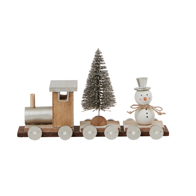 Silver Wooden Train With Snowman and Tree