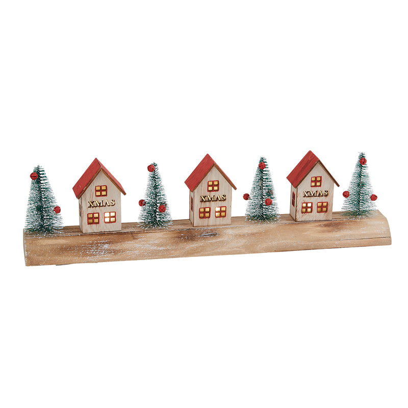 Three Wooden Xmas LED Houses
