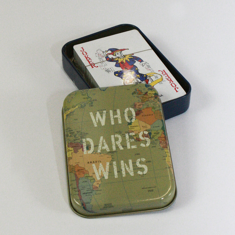 Playing Cards in Who Dares Wins Metal Tin