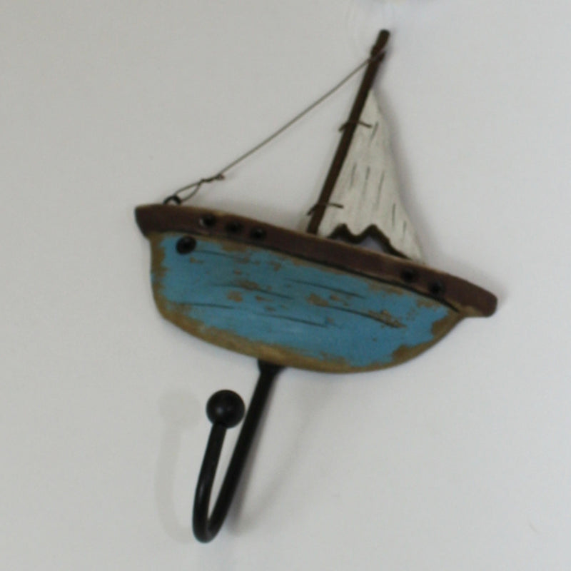 Blue Wooden Sailing Boat Single Hook