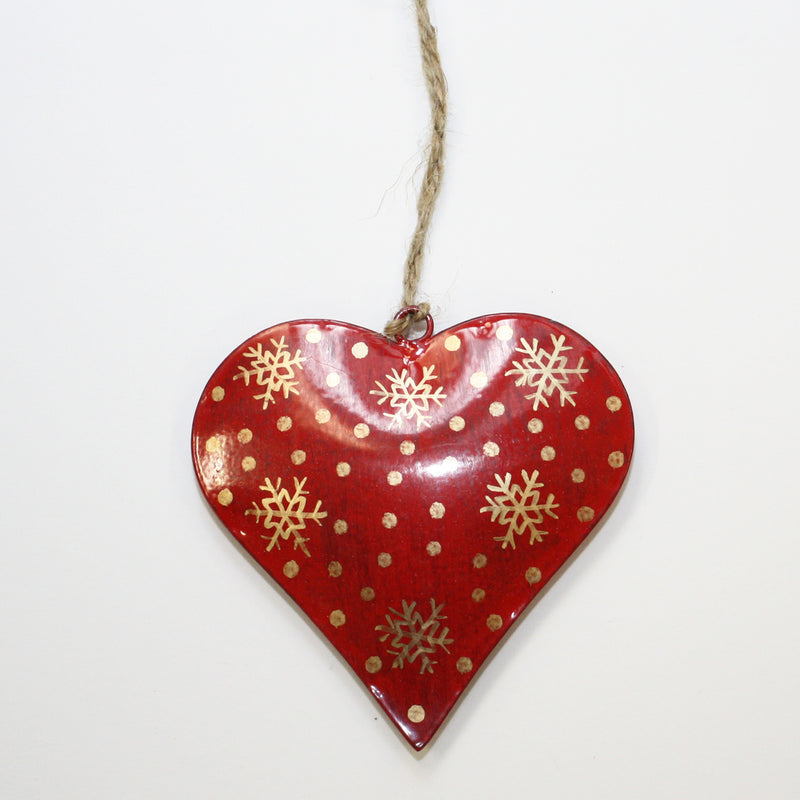 Red Metal Hanging Heart Decoration