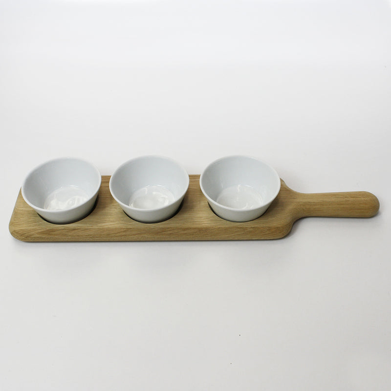 Paddle Bowl Set With Oak Paddle
