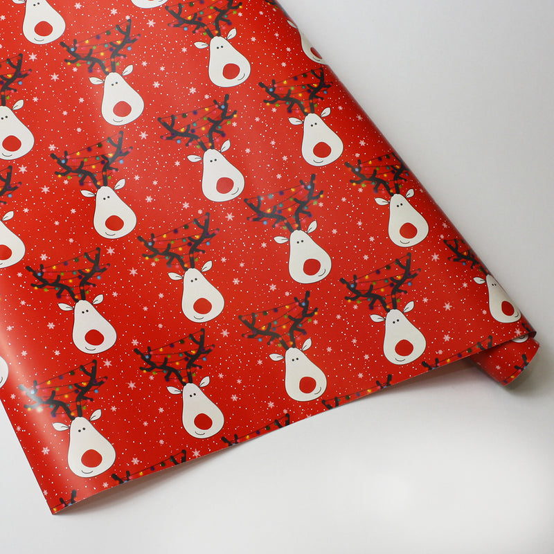 4m Roll of Reindeer Selfi Wrapping Paper Red