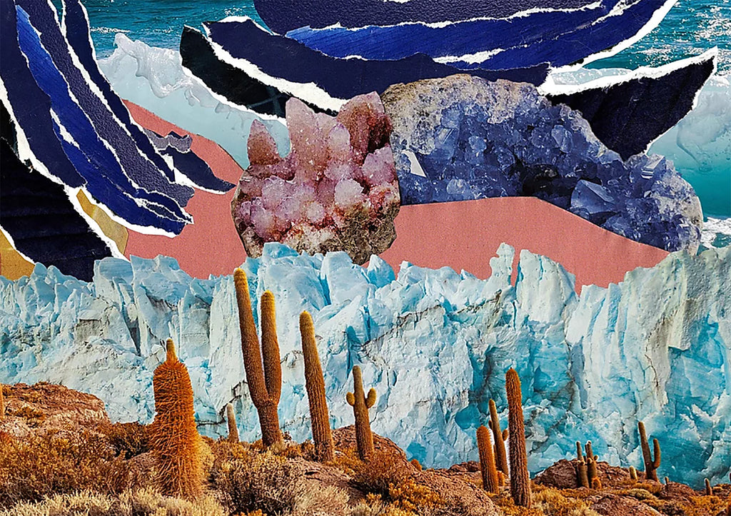 Desert cacti, glacial mountains and blue and pink crystals layered over torn blue and pink paper create this digital collage print by Esme Rose Marsh.