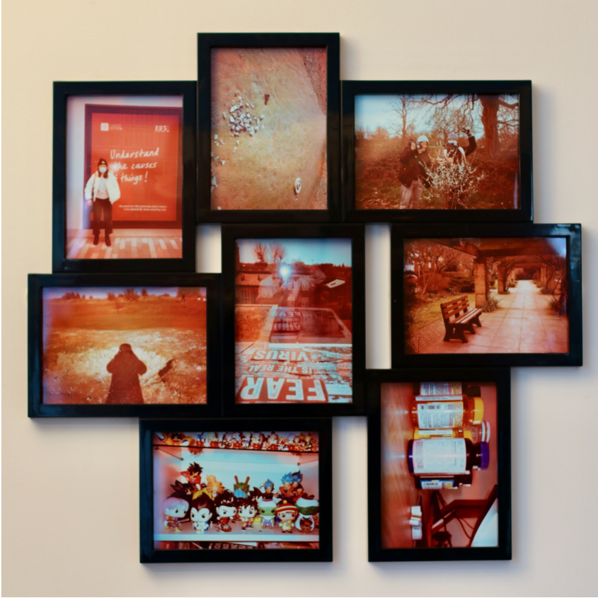 Collection of 8 photographs in a multi-frame frame, by Jamie Chi. The photographs were taken on expired 35mm film so have an orangey glow to them.
