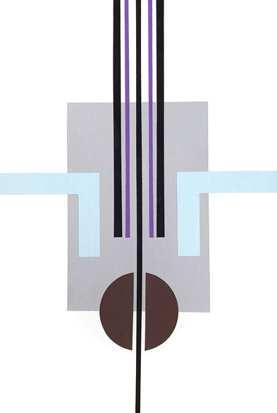 Artwork by Henriett Juhasz, is an Art Deco style painting of geometric lines and circles in white, blue, grey and purple, to evoke calmness.