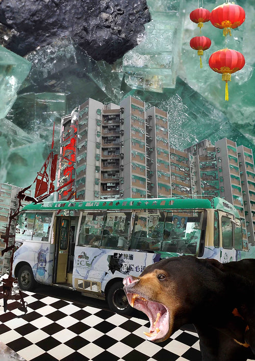 Fine Art Collage print by UK based artist, Esme Rose Marsh, created in response to deforestation and global warming, using images taken in Hong Kong.
