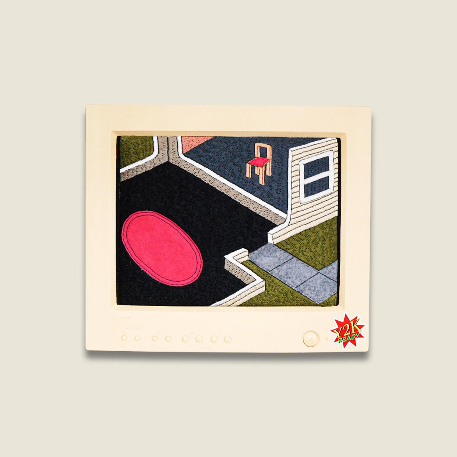 Embroidery artwork of a computer game style layout of a house interior, including pathway leading to front door and red rug in main room.