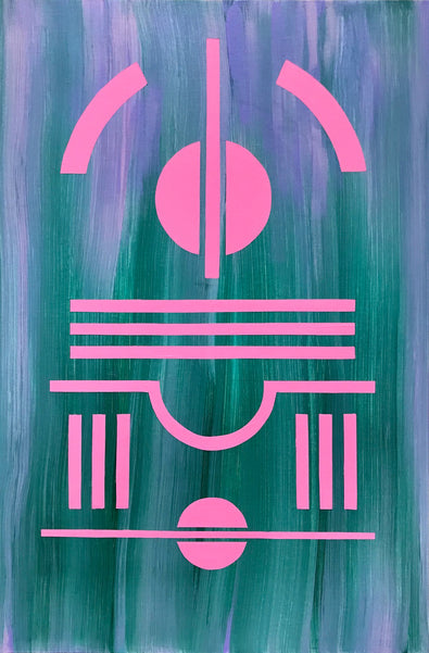 Artwork by Henriett Juhasz, an Art Deco style painting of pink, geometric lines and circles in a blur of pastel purple and deep green.