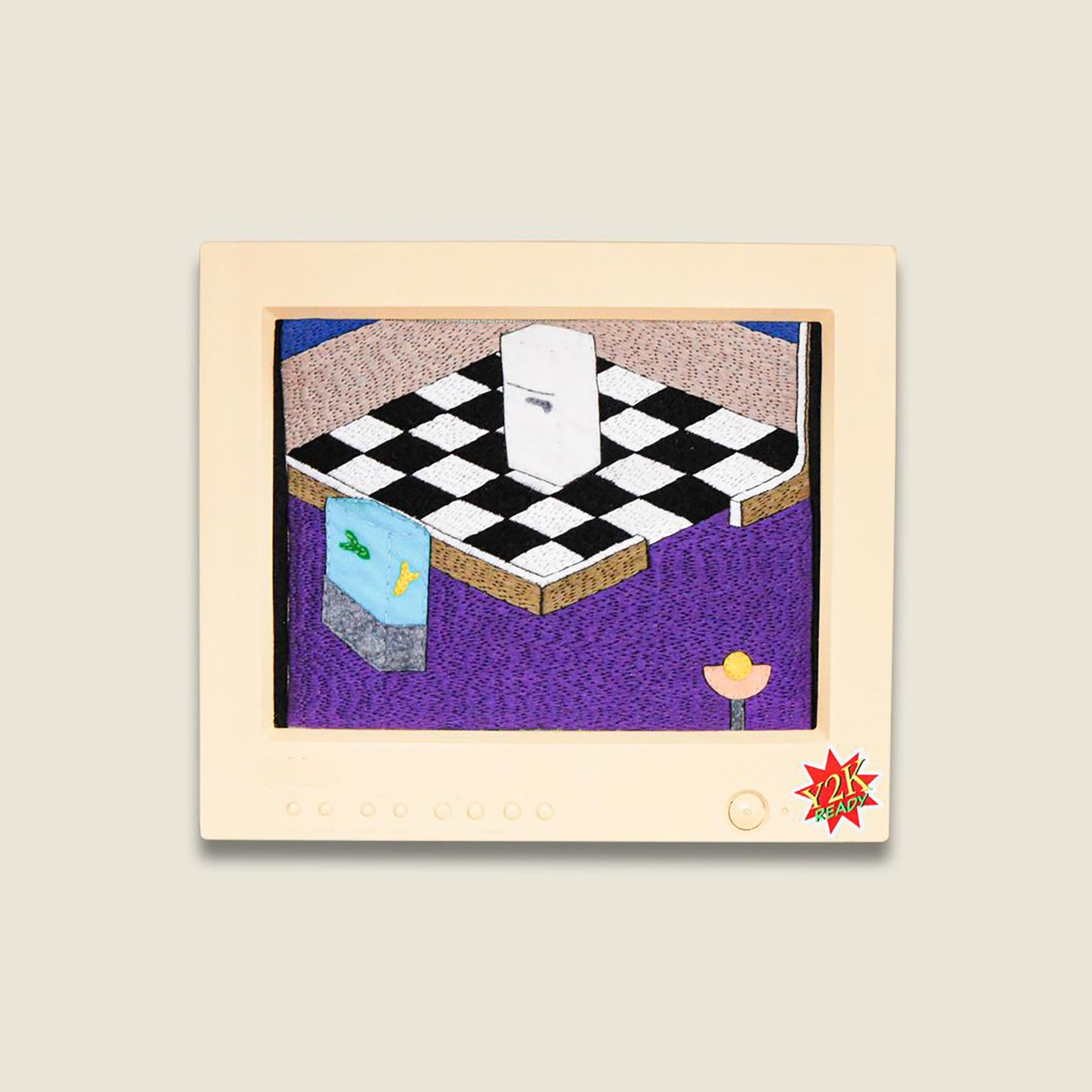 Embroidery artwork of a computer game style layout of a house interior, including tiled kitchen floor, a fridge and fish tank in hallway.