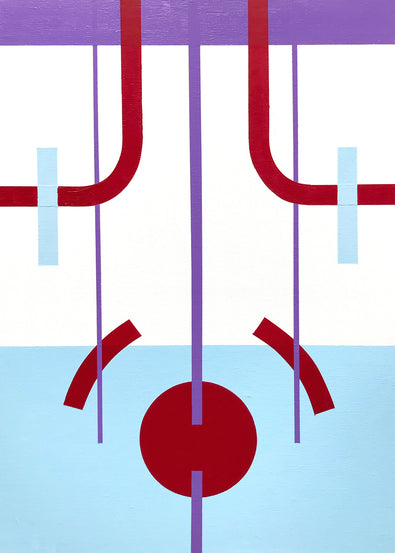 Acrylic painting, 'Floating', by Henriett Juhasz, is an Art Deco style painting of geometric lines and circles in bright colours of baby blue, purple and maroon red, painted onto canvas.