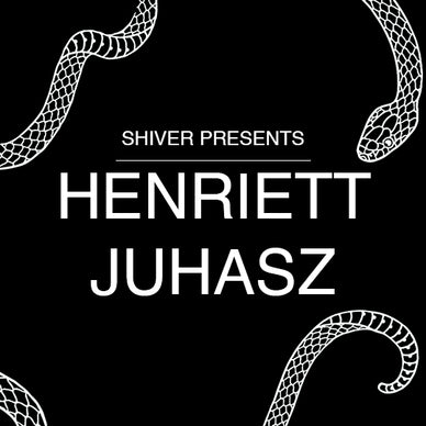 Title image for Henriett Juhász's online exhibition with Shiver Gallery. Image shows a black square with white snake weaving in corners.