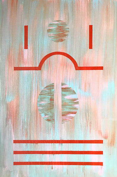 'Spin' by Henriett Juhasz, is an Art Deco style painting of red, geometric lines and circles in a blur of pastel baby blue and pink.