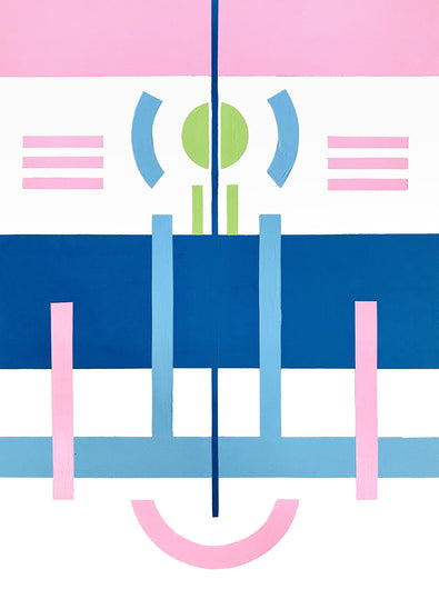 'Candy', by Henriett Juhasz, is an acrylic painting of geometric lines and circles in pastel baby blue, pink, white and midnight blue, on canvas.