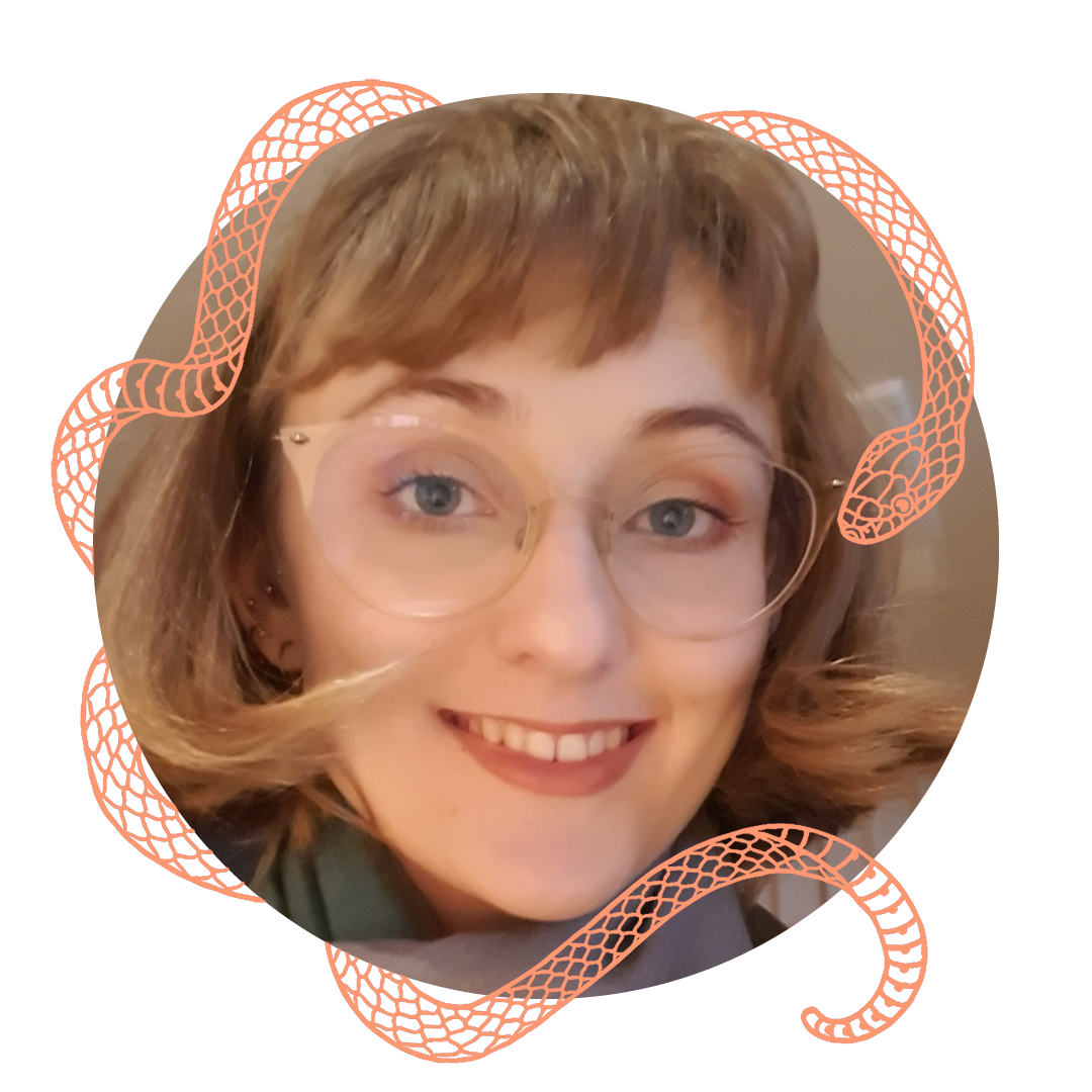Circular profile image of artist, Phoebe Stringer, a white woman in her 20s with light brown, chin length hair with a fringe and big glasses with clear frames. Image surrounded with a peach coloured snake illustration.