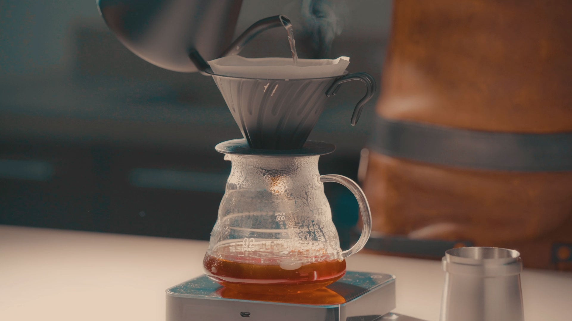 Hario V60 Range Server 600ml Clear Borosilicate Glass photographed at The Espresso Lab Roastery