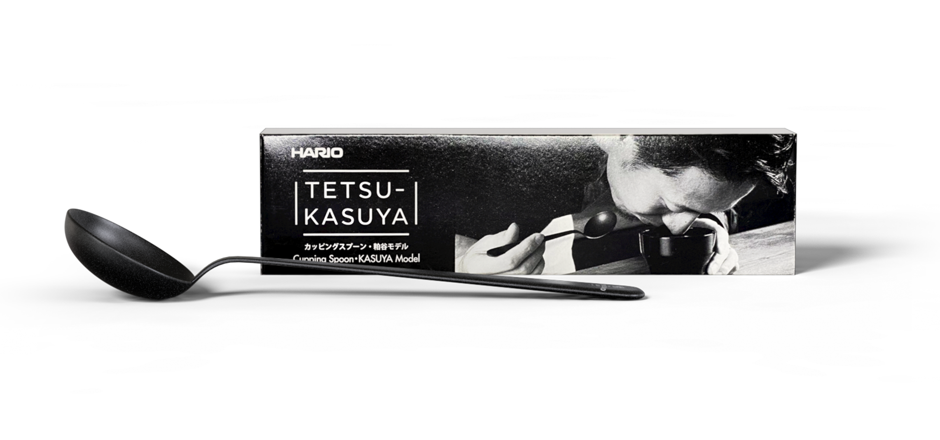 Hario Cupping Spoon Tetsu Kasuya Model with Box photographed at The Espresso Lab Roastery