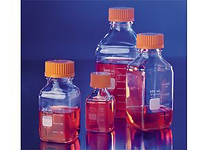 PYREX 500mL Square Glass Media Storage Bottles, wi