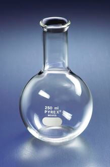 4060-1L PYREX 1L Long Neck Boiling Flask, Flat Bottom and