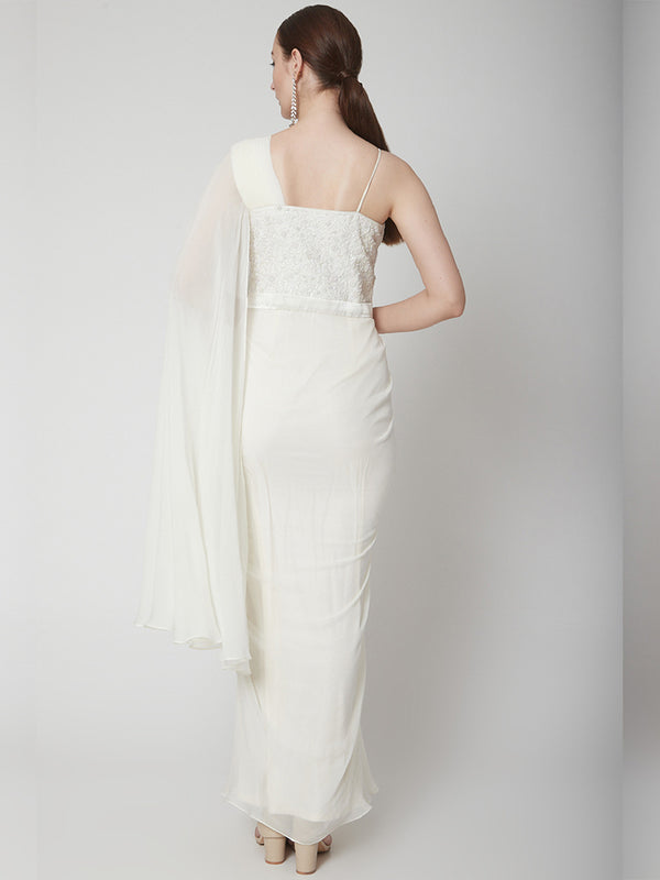Off-White One Shoulder Drape Saree