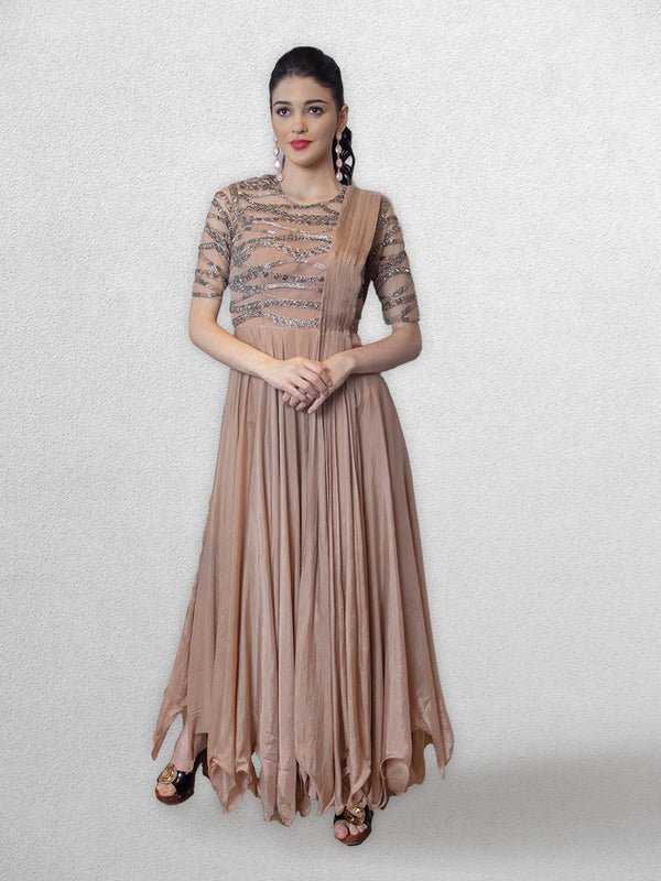 Brownish Pink Gown  with Dupatta