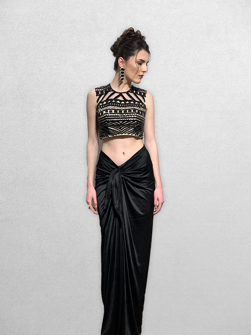 Black Dhoti Pants with Crop Top