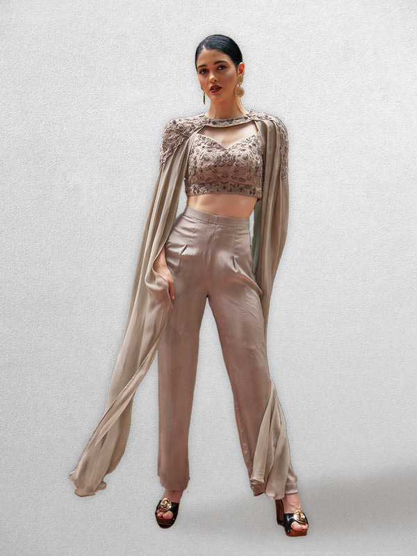 Greyish Brown  Crop Top with Trouser Pants and Detachable Cape