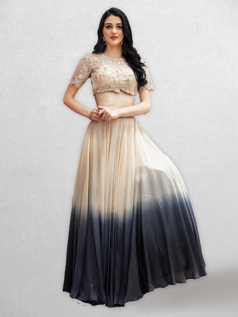 Ivory-Ombre Lehenga with Crop Top