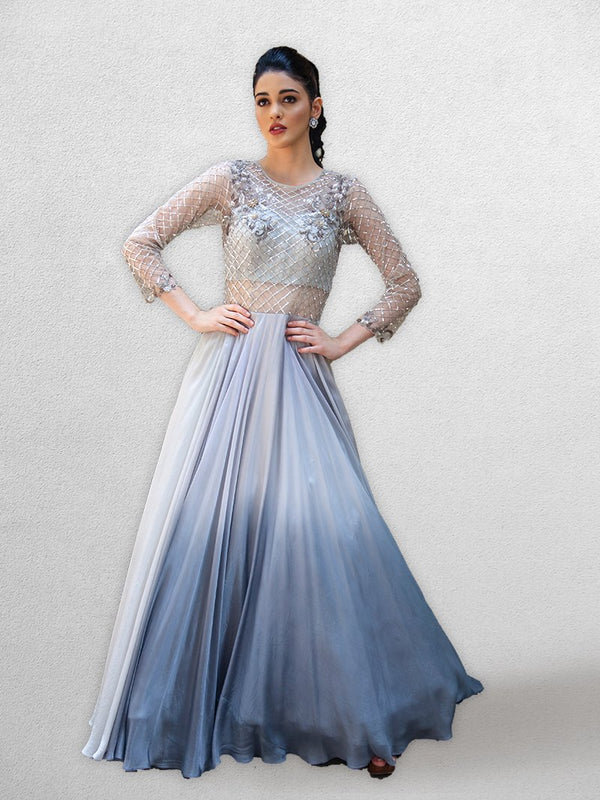 Grey  Body Gown  with Ombre