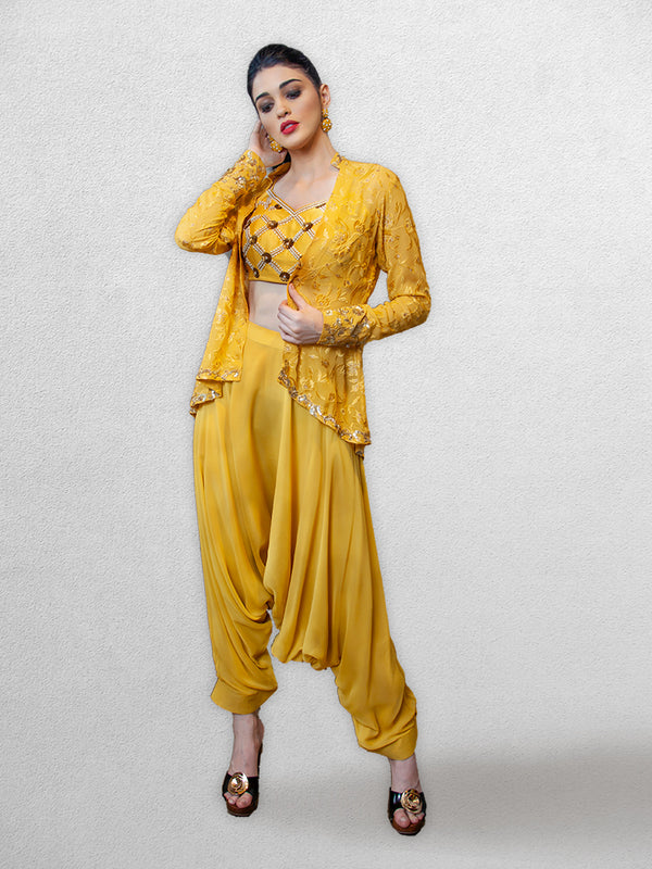 Yellow Harem Pants with Jacket and Blouse