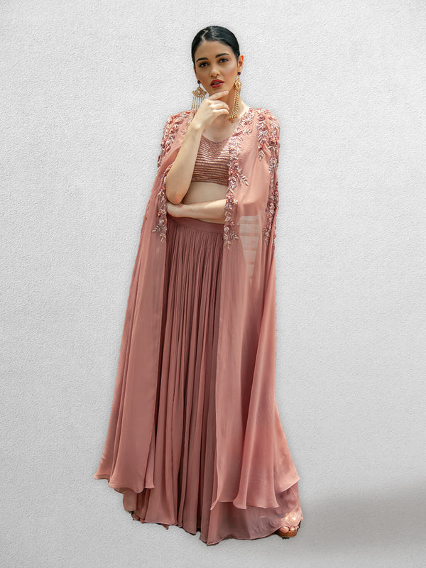 Onion Pink Blouse with Cape and Skirt