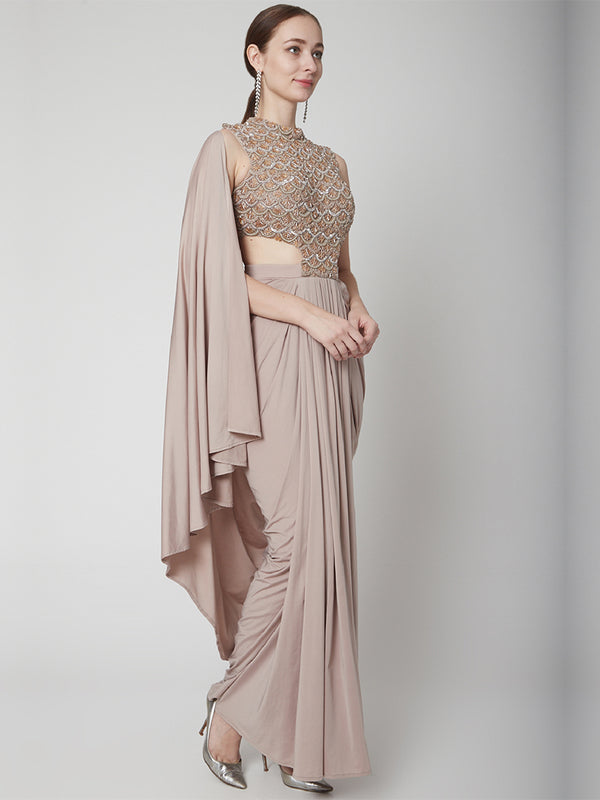 Rose Gold Drape Saree