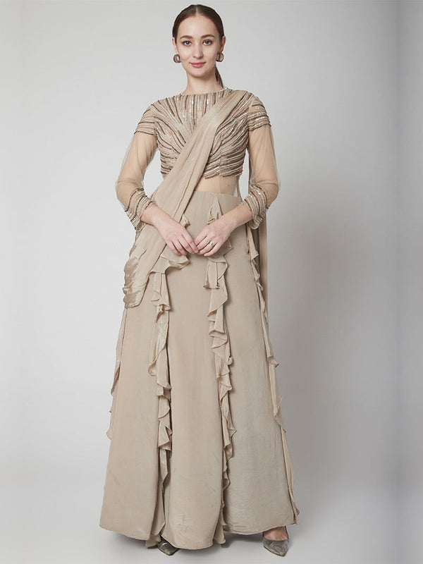 Mouse Grey Drape Ruffle Saree