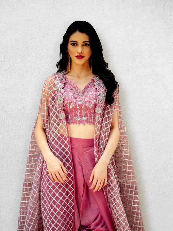 Dark Onion Pink Embellished Blouse with Dhoti and  Cape