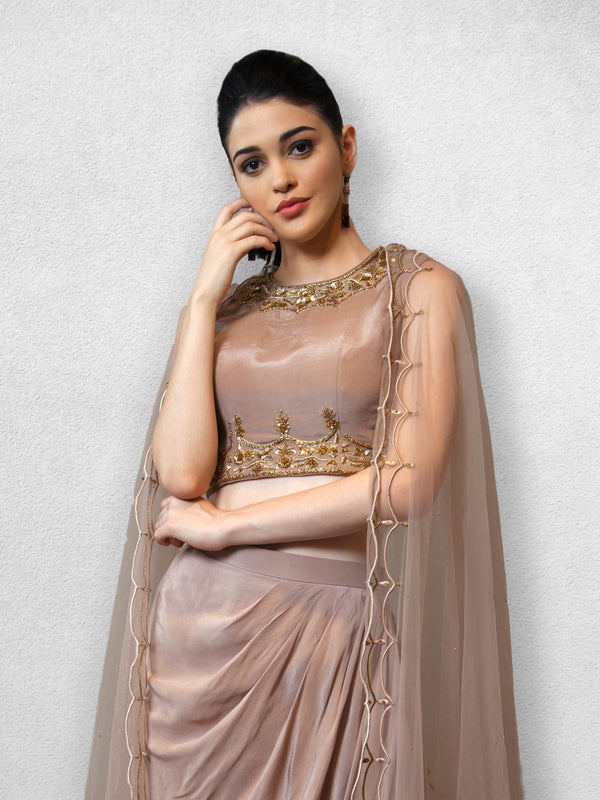 Mauve Crop Top  with Drape Skirt and Cape