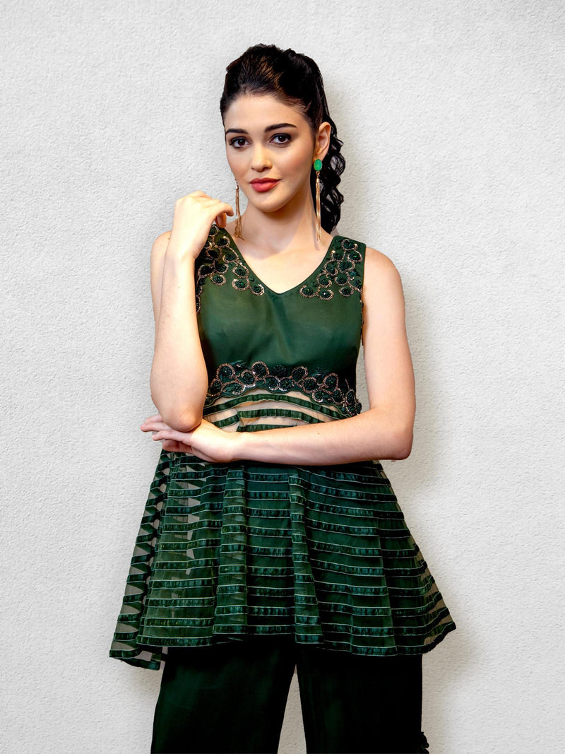 Emerald Green Peplum  Blouse with Sharara Pants
