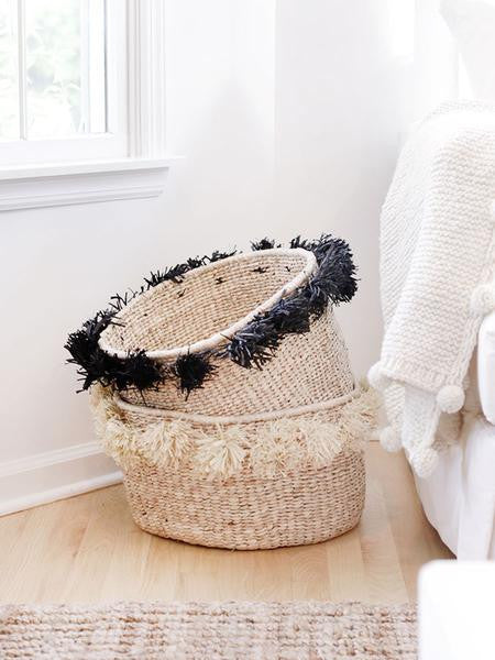 Home Goods - Pom Pom Banana Leaf Floor Basket - Black