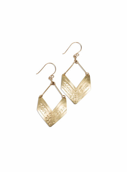 Earrings - Kara Zuri Brass Chevron Earrings