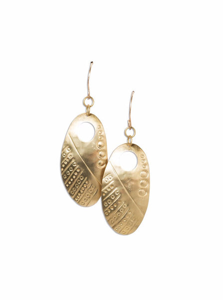 Earrings - Camilla Soko Brass Oval Earrings