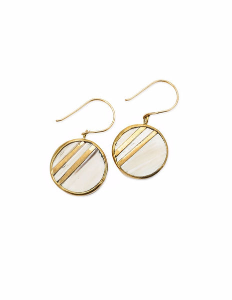 Earrings - Kipekee Horn Earrings Beige