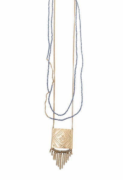 Necklaces - Elizabeth Imani Square Fringe Brass Necklace