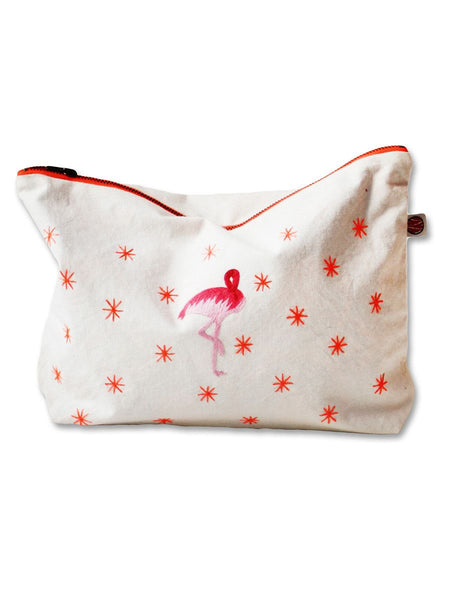 Accessories - Flamingo Amongst The Stars - Hand Embroidered Flamingo Pouch